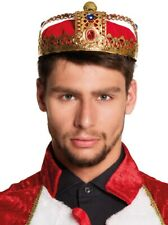 Mens Ladies Red Gold Royal King Queen Princess Crown Fancy Dress Costume Outfit