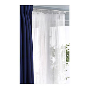 "IKEA LILL Curtains Sheer Net White 2 Panels 110x98"" Canopy Room Divider FREESHIP"