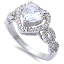 Heart Shape Cubic Zirconia Engagement Promise .925 Sterling Silver Ring Size 5-1