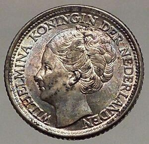 1944 CURACAO Netherlands Kingdom Queen WILHELMINA 1/4 Gulden Silver Coin i57194