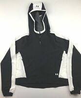 Under Armour Womens Large UA Storm Black White Full Zip Hooded Running Jacket