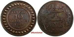 Tunisia Muhammad IV Bronze 1904 A 10 Centimes Nice Toned KM# 229 (19 060)