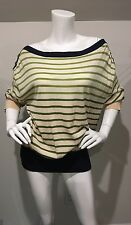 NWT Anthropologie Yellow Bird Ombré Green Stripe Sweater W/ Navy & Button Detail