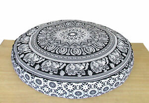 "35"" Indian Mandala Elephant White Round Floor Cushion Cover Cotton Pouf Cover"