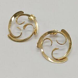14K Yellow Gold - Open Swirl Post Earrings - 1 Inch - 3 Grams