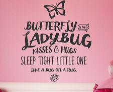 Butterfly And Ladybug Kisses And Hugs Sleep Tight Vinyl Art Wall Decal B25B