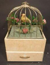 Vintage Metal Hanging Bird Cage Music Box W/Bird On Perch One Drawer Jewelry Box