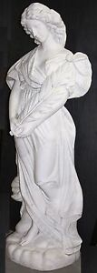 "Superb Italian Carrara Hand Carved Marble Large 62"" Woman Flowing Hair & Gown"