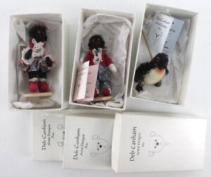 DEB CANHAM bears LOT of 3 miniature dolls penguin bears spats spangles