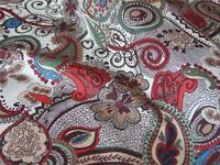 Beige Brown Red Paisly Floral 100% COTTON LAWN fine FABRIC for dress making etc.