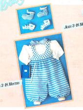 Check & Stripe Baby Dungarees & bootees 3 - 18 Meses 4 Capas Tejer patrón