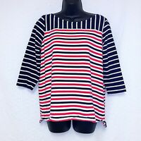 Talbots Women's Size 1X Petite Pink & Blue Striped Knit Top Shirt Half Sleeves