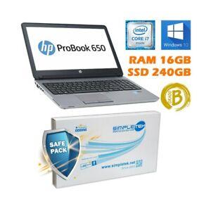 "Ordinateur PC Portable HP 650 G1 I7 15,6 "" 16GB 240GB SSD Batterie Neuf"