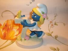 "Vintage 4"" Peyo SMURF Smurfette Birthday Age 7 Ceramic Figurine Hanna Barbera"