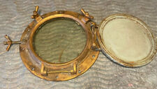 Antique Brass Ships Porthole With Storm Security Hatch Cover Large 18""