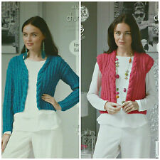 KNITTING PATTERN Ladies Easy Knit Cardigan &Waistcoat Cable Neckband Chunky 4403