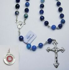 Striated Blue Agate Gemstone Rosary / Sterling Silver - St. Anthony Relic Medal