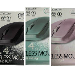 Bytech 2.4GHz Wireless Mouse Plug N Play USB Batteries Included Select Colors