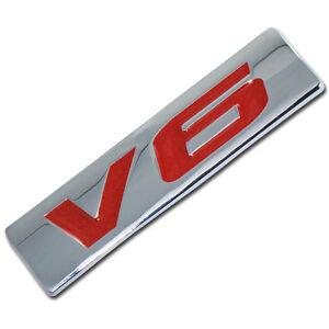 CHROME/RED METAL V6 ENGINE RACE MOTOR SWAP EMBLEM BADGE FOR TRUNK HOOD DOOR B