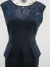Lipsy Navy Sequin Embroidered Peplum Wiggle Bodycon Chiffon Dress Size 10