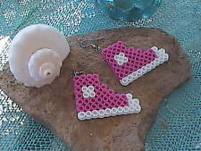 Perler Bead Pink Sneakers Dangle Earrings