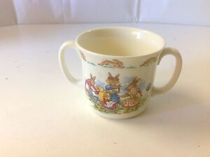 Royal Doulton Bunnykins Tableware Flat Double Handled Cup Playing Dolls Rabbits
