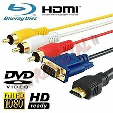 CAVO ADATTATORE HDMI MASCHIO VGA con RCA AUDIO VIDEO CONVERTITORE TV MONITOR RGB