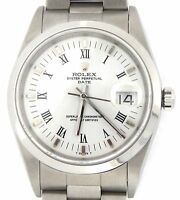 Mens Rolex Date Stainless Steel Watch Oyster Band White & Black Roman Dial 15200