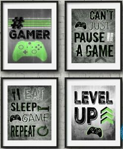 Xbox Set Of Four Prints Green Gamer Boys Bedroom Decor Home Console A4