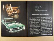 1972 Pontiac Ventura II Sprint green car photo vintage print Ad