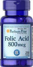 Puritan's Pride Folic Acid 800mcg-250 Tablets