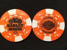 """Harley Poker Chip Golf Ball Marker Orange/White """"Harley Magic"""" Cairns Australia"""