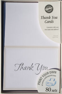 """80 Wilton Thank You Cards """"KEEPING WITH TRADITION - White""""  Print Your Own - NEW"""