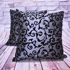 2PCS Gray Flocking Flower Damask Cushion Covers Throw Pillow Cover Set 18x18''