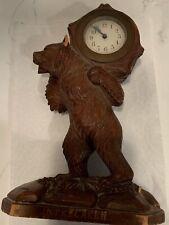 Antique Interlaken Swiss Black Forest Bear Wooden Clock