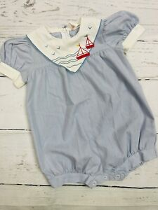 Vintage Romper Nautical Striped Blue Embroidered Boats Collar Puff Sleeve 12-18m
