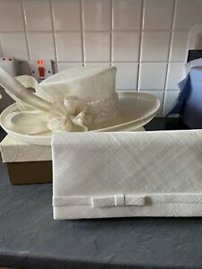 Deluxe Ivory Occasion / Wedding Hat & Matching Clutch Bag
