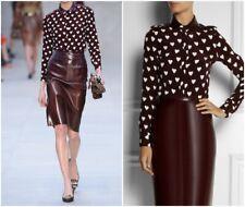 BURBERRY PRORSUM Heart Print Mulberry Silk Collar Blouse Shirt Top Burgundy 42 6