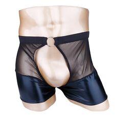 Men Lingerie Leather Mesh Boxers Briefs Open front Underwear O-ring Underpant L