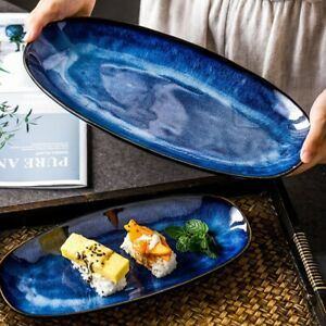 Japanese Style Kiln Cat Eye Blue Fish Plate Household Steamed Fish Sushi Plate