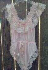 Vtg 80s Pale Pink Teddy Lingerie Sz M Dolores Poirette Union Usa Sissy Cd