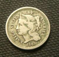 1865 ~~ 3-CENT NICKEL ~~ TOUGH DATE ~~ FINE ~~ DIRTY