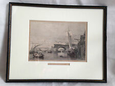 Impression antique 1833 gravé par George Cooke fait partie de la vieille & NEW LONDON BRIDGES