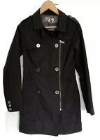Very Smart River Island Black Trench Coat Partially Lined Size 8 Used but In VGC