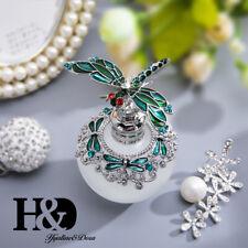 Handmade Vintage Green Dragonfly Crystal Metal Perfume Bottle Wedding Gift 40ml