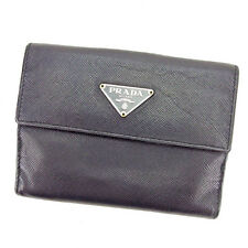 Prada Wallet Purse Folding wallet Black Silver Woman unisex Authentic Used T2309
