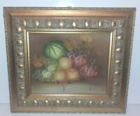 Dipinto A Mano Su Tela Frutta Natura Morta Con cornice In Legno Foglia Oro 36x41