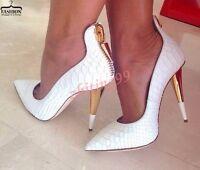 Womens Pointy Toe Rivet Leather Pumps Slip On High Heel Wedding Shoes Stilettos