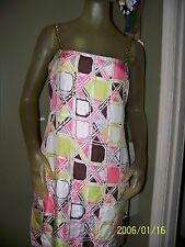 MILLY New York  Silk Brown & green Pink Resin Chain Dress sz 6