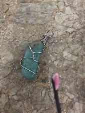 Handmade Amazonite Wire Wrapped Pendant On A Waxed Thong, Gift Idea Reiki Chakra